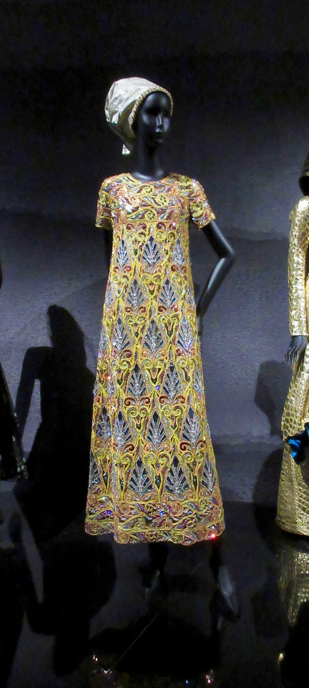 Egyptian Influence - Marc Bohan Haute Couture Spring Summer 1968. Silk, swarovski crystals, melanex and metal thread. Shows the palmette icon used in Egyptian architecture