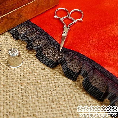 Black pleated frill lace semi see through organza satin Mokshatrim Haberdashery