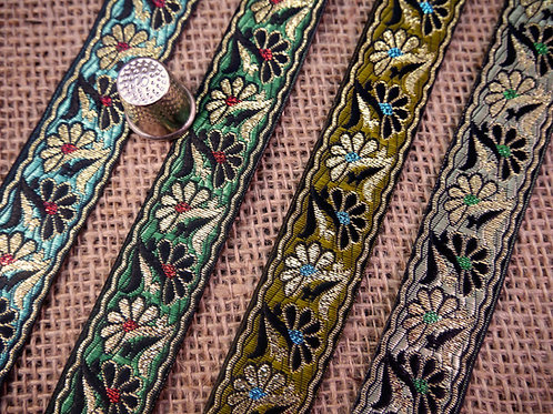 Decorative Asian Indian jacquard ribbon shiny twining daisy flowers floral Ethnic Mokshatrim Haberdashery