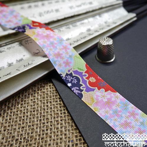 25mm japanese grosgrain jigsaw geometric bamboo flower floral ribbon trim haberdashery mokshatrim