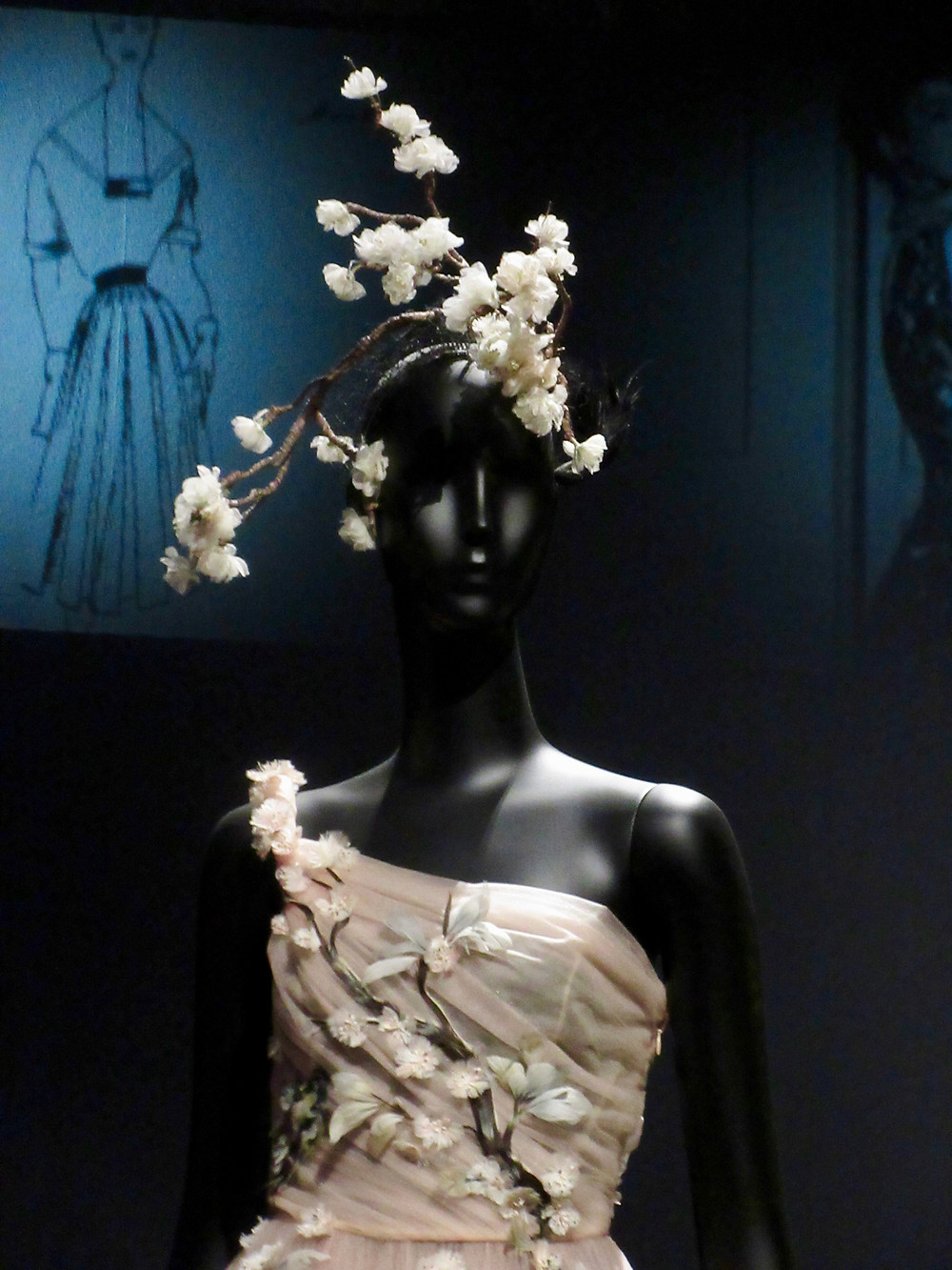 Maria Grazia Chiuri's Haute Couture Autumn/Winter 1997 stretch silk damask and beadingSpring/Summer Collection 2017 tulle and embroidery with Stephen Jones headpiece