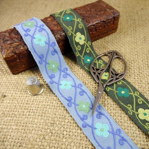 Blue green Cotton Jacquard Ribbon flower floral design Mokshatrim Ethnic Haberdashery