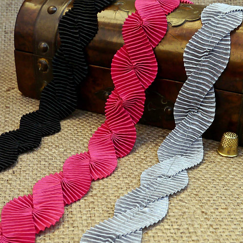 Black Cerise Pink Grey Pleated/folded grosgrain satin ribbons slight sheen wound together trim Mokshatrim Haberdashery