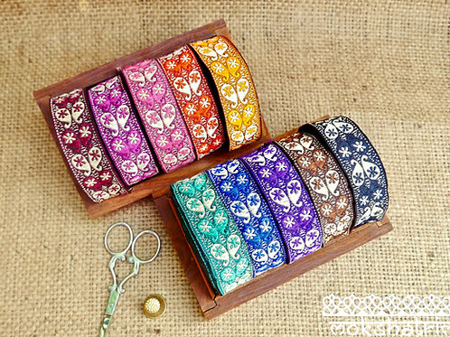 Ethnic Asian Indian jacquard ribbon colourful pattern paisleys slight sheen Mokshatrim Haberdashery