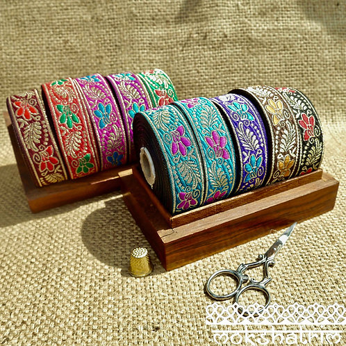 25mm Asian Indian jacquard ribbon metallic gold floral mokshatrim haberdashery