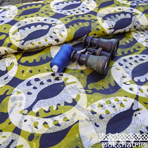 Leaf Green Seaweed printed batik tribal african wax ankara mokshatrim ethnic fabric cotton