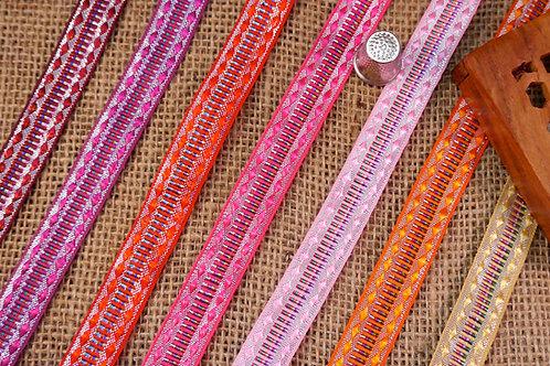 Decorative Indian Jacquard ribbon trim shiny geometric pattern diamonds bright colours metal silver Mokshatrim Haberdashery