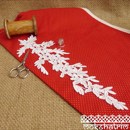 Large Ivory lace guipure applique flowers floral leaves sheen v-neckline collar bridal wedding Mokshatrim Haberdashery