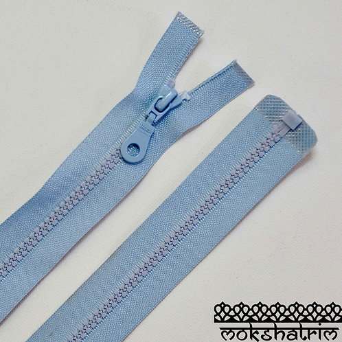 """19"""" (c. 48 cm)21"""" (c. 53cm) Pale Blueopen end chunky plastic heavy duty nylon zipper jackets Mokshatrim Haberdashery"""