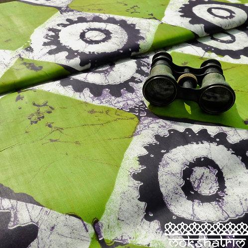 Green cog square batik printed ethnic african wax fabric cotton ankara Mokshatrim Haberdashery