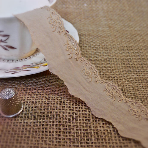 Beige Cotton Broderie Anglaise M325