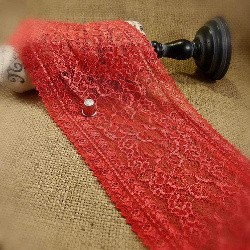 Red stretch lace with rose design with scalloped edge underwear lingerie Mokshatrim haberdashery