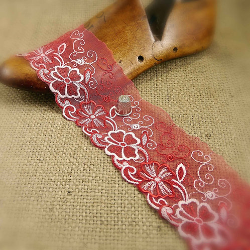 Red and White Embroidered Tulle with flower floral filigree design Mokshatrim Haberdashery