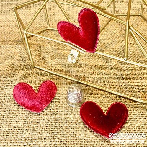 Sew On Red velvetHeart Applique patch valentines day Mokshatrim Haberdashery