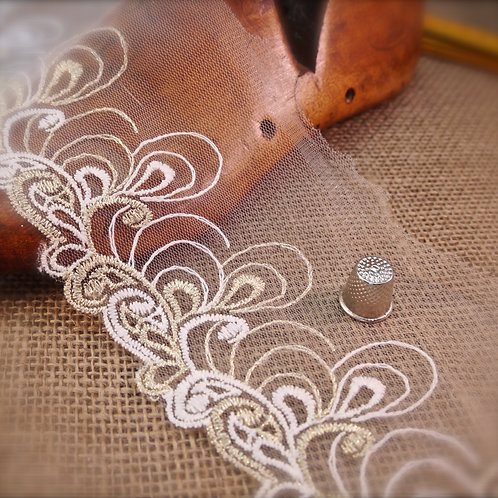 White Embroidered Gold Metal Tulle Lace M320