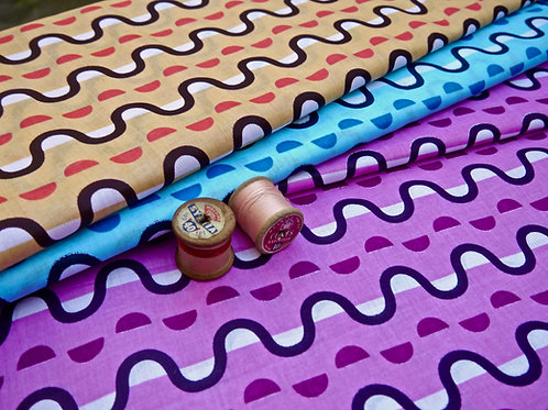 Geometric printed orange turquoise pink batik tribal african wax ankara mokshatrim fabric cotton