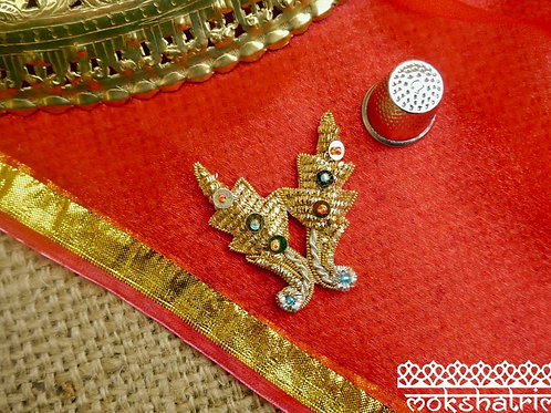 Indian Asian dual flower/leafappliquegold silver coilworkgold sequins red green seed beads Mokshatrim Ethnic Haberdashery