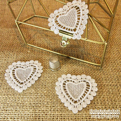 Sew On White Guipure Lace Heart Applique patch valentines day Mokshatrim Haberdashery