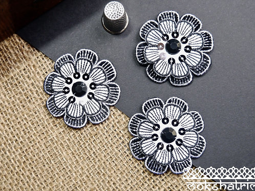Iron on black white monochrome retro 60s flower floral beaded sequin patch applique trim mokshatrim haberdashery