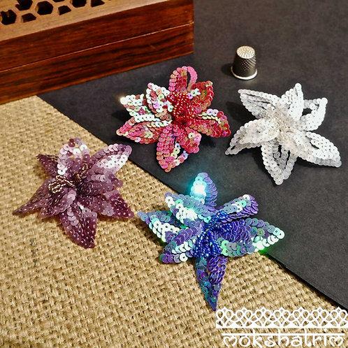 Sequin Applique Badges flower Floral Wired Petals iridescent sequins beading sparkle Mokshatrim Haberdashery