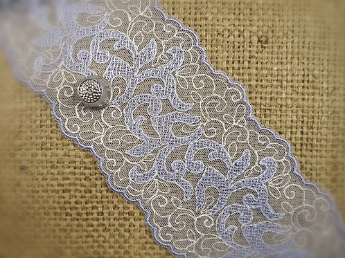 Pale Blue Embroidered Tulle M371B