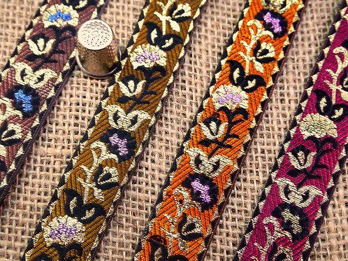 Indian Asian ethnic Jacquard ribbon shiny relief petunia flowers floral Mokshatrim ethnic haberdashery