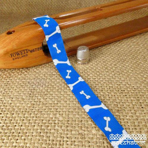 Art jacquard ribbon white dog bone turquoise blue jaunty dog collar Mokshatrim ethnic Exotic Haberdashery