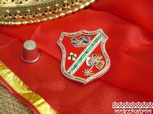 Classic Shield applique patch gold silver purple green coilwork red velvet Beaded sequins Zardozi Mokshatrim Haberdashery