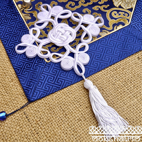 oriental white knot tassels tassles cord chinese trim applique haberdashery mokshatrim