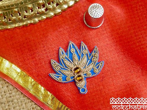 Indian Asian Silver Goldwork Beadedethnic appliques lotus flower floral design gold coilworkbeads zardozi Haberderdashery