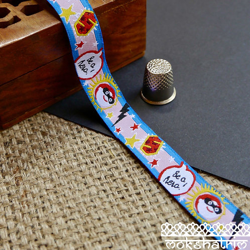 16mm Be a hero superhero cartoon art designer jacquard ribbon trim Mokshatrim Haberdashery dog collar