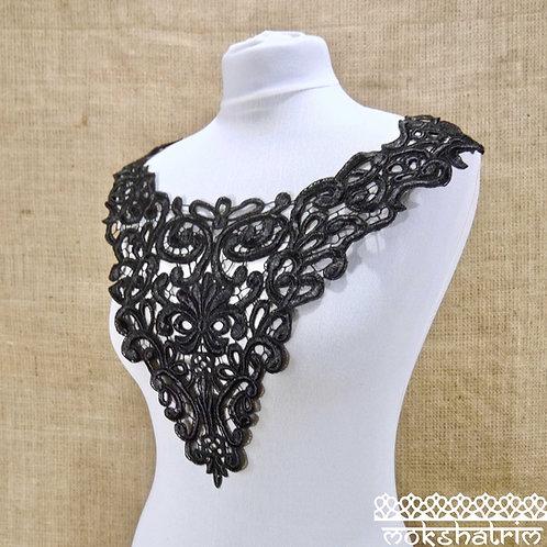 Black Lace Bodice Neckline Bow Collar MA7504B