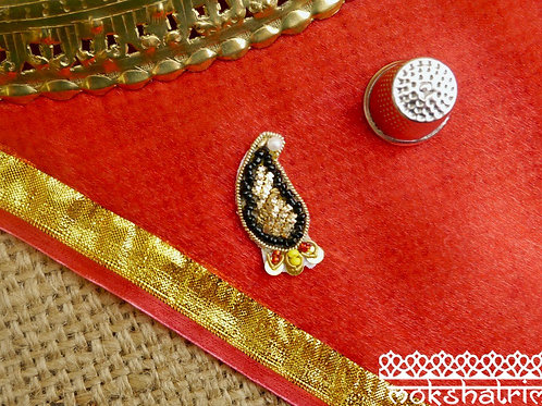 Indian Asian ethnic paisley appliques goldcoilwork red black yellow pearl-like beadingzardozi Mokshatrim Haberdashery