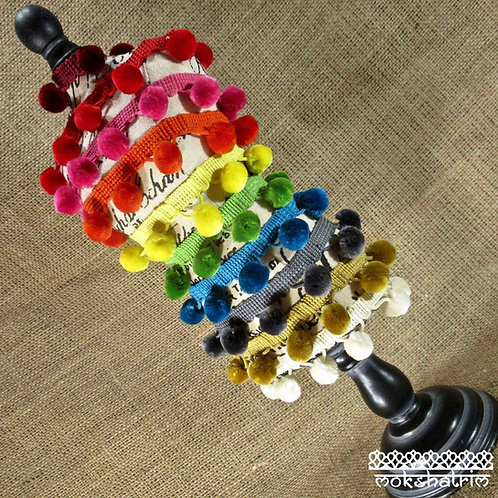 30mm rainbow deep pom pom fringe trim large soft fibre braid Mokshatrim Haberdashery