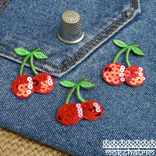 iron on red cherry fruit sequins patch applique trim mokshatrim haberdashery