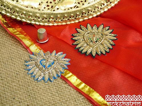 Indian Asian zardozi appliques flaming heart designgold coilwork red green beading black blue velvet Ethnic Haberdashery