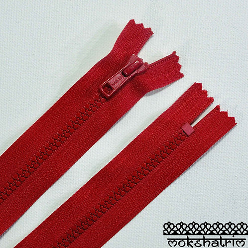 "6"" (c. 15.3cm) Red closed end chunky plastic heavy duty nylon zipper suitable for trousers, dresses, skirts, pockets bags"