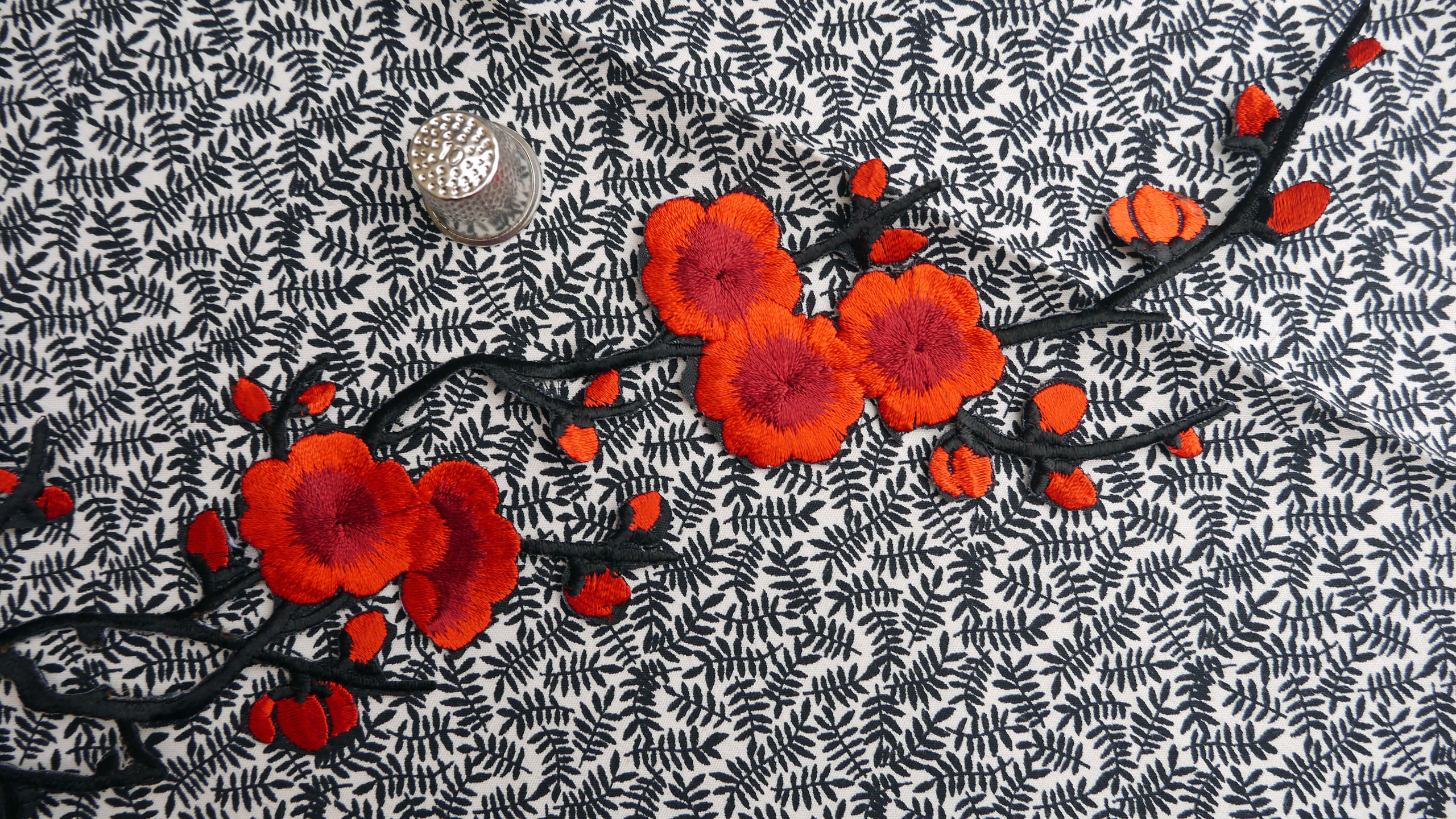 Red Cherry Blossom Chinese Japanese Iron On Applique Patch
