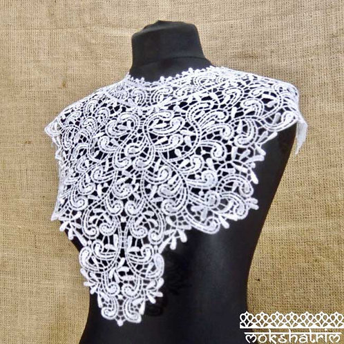 Large White Lace Guipure Abstract Neckline Collar Applique for Top, Tunic, Kaftan Mokshatrim Haberdashery Ethnic Exotic