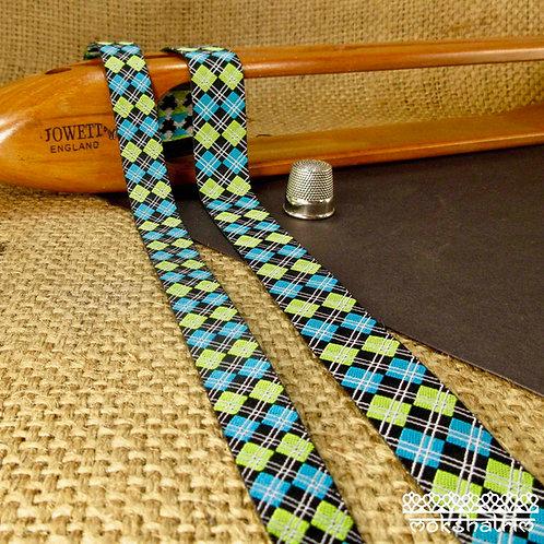 Art jacquard ribbon geometric tartan check design lime green turquoise white black dog collars Mokshatrim Haberdashery