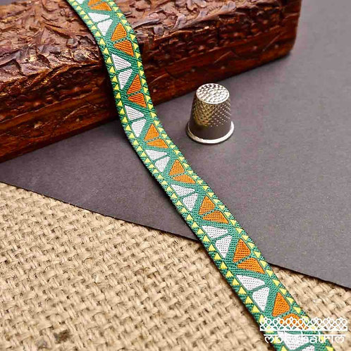 Retro Vintage style geometric jacquard ribbon triangles yellow orange white bright green Mokshatrim Haberdashery