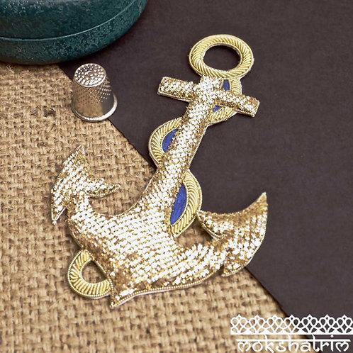 Indian Asian Silver Goldwork Zardozi anchor appliquesgoldcoilwork blue velvet sparkle sailor costume Mokshatrim Haberdasher