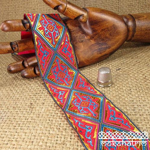 Tibetan ethnic decorativejacquard ribbon diamond geometricpatterncerise orange turquoise copper bronze sheen luxury ethnic