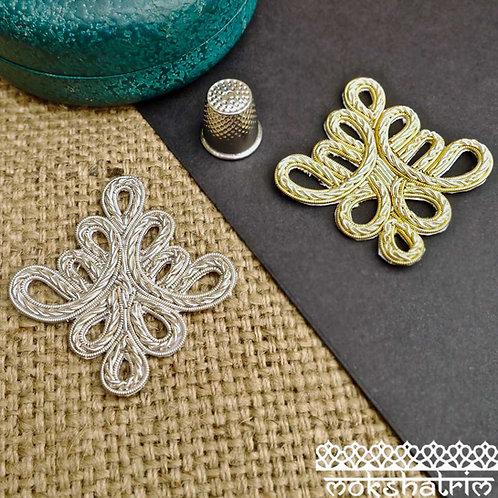 Goldwork fleur-de-lys fleur-de-lis appliques gold silver coilwork sparkle heraldry costumes Mokshatrim Haberdashery
