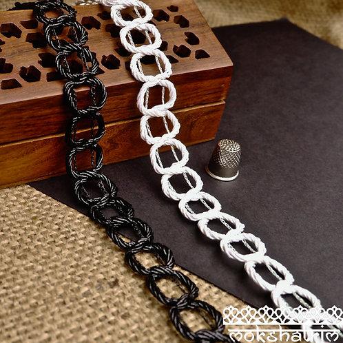 Shiny black irridescent white Chain Braid Twisted gimp trim invisible thread Mokshatrim Haberdashery
