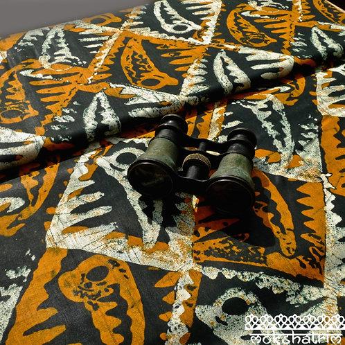 Orange Tower shell diamond batik printed ethnic african wax fabric ethnic cotton ankara Mokshatrim Haberdashery