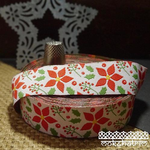 Designer jacquard art ribbon Xmas Christmas design dog collar Poinsettia holly red green yellow white Mokshatrim Haberdashery
