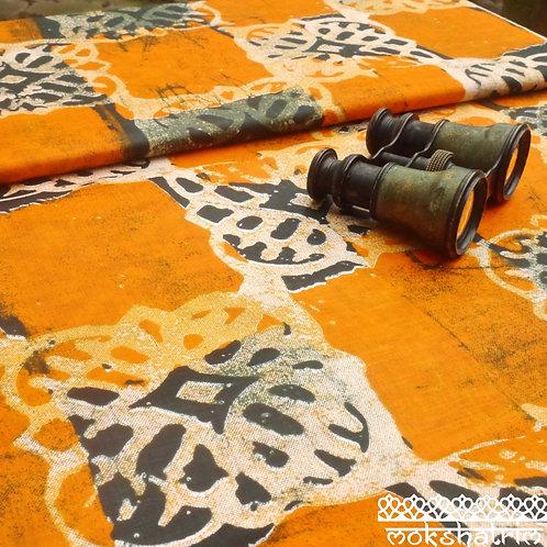Digitally printed ethnic african wax fabric ankara batik motif square chequered Orange Black Square Mokshatrim Haberdashery