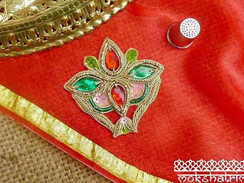 Indian Asian Silver Goldwork Beaded floral Applique gold silver greencoilwork cabochon sequins Mokshatrim Haberdashery