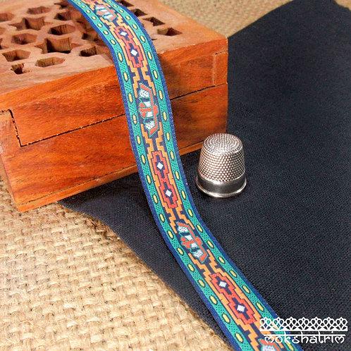 Narrow Traditional Native American Indian stylejacquard ribbon geometric orange yellow white green Mokshatrim Haberdashery
